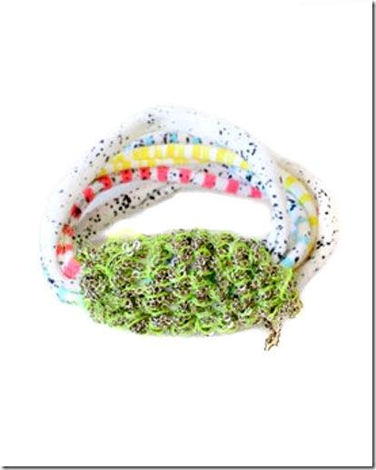 Arielledepinto-creatures_handprintedmulticolourjerseycuffbracelet_crochetsterlingsilverchain_135_creaturesofcomfort_us