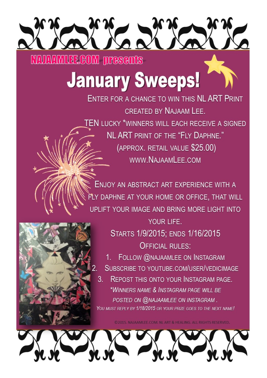 giveaways, sweepstakes, january sweeps, art, prints, artworks, najaam lee, instagram, youtube