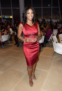 NEW YORK, NY - OCTOBER 19: Dr. Nadia Lopez poses with her award at the 5th Annual Foundation for Letters Gala at IAC Building on October 19, 2016 in New York City. (Photo by Gustavo Caballero/Getty Images for Foundation for Letters)