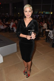 NEW YORK, NY - OCTOBER 19: Honoree Carmen Rita Wong poses with her award at the 5th Annual Foundation for Letters Gala at IAC Building on October 19, 2016 in New York City. (Photo by Gustavo Caballero/Getty Images for Foundation for Letters)