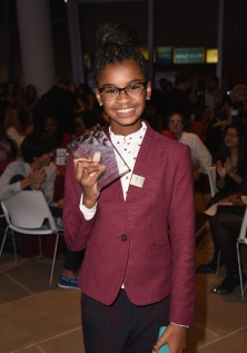 NEW YORK, NY - OCTOBER 19: Honoree Marley Dias poses with her award at the 5th Annual Foundation for Letters Gala at IAC Building on October 19, 2016 in New York City. (Photo by Gustavo Caballero/Getty Images for Foundation for Letters)